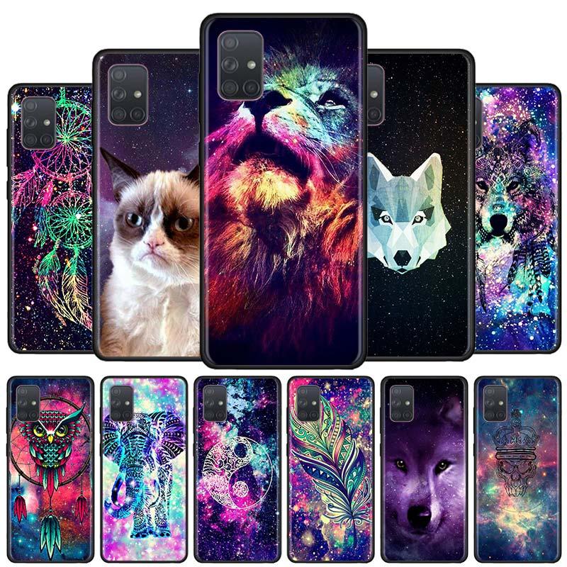 Space Tribal Wolf owl Black Soft Phone Case for Samsung Galaxy A50s A70s A51 A71 5G A10 A20 A30s A40 A31 A41 A91 Cover Capa(China)