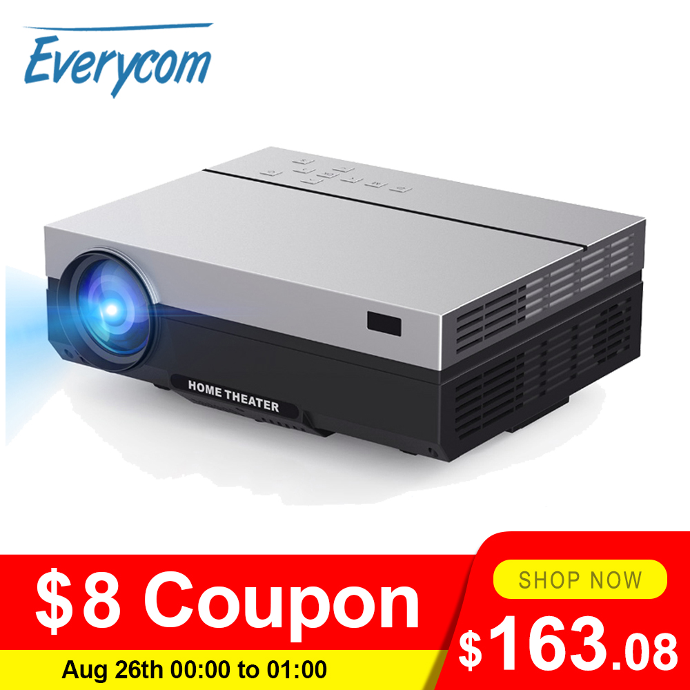 Everycom Projector Beamer Video Movie 1920x1080p Lumens Portable Home Theater Full-Hd