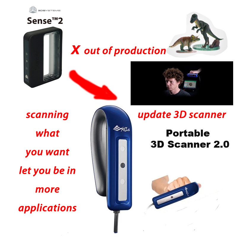 Portable full color true colour 3d scanner SENSE 2 hand-held scanner 3d multi-colour 3d human body made by 3d systems