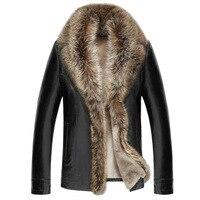 Herren Kleidung Winter Mantel Waschbären Schafe Leder Langarm Taste Casual Slim Fit Casacas De Cuero Mantel Büro Business Jacke