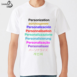 Personalized T-Shirts with Customized logo Text or image Printing DIY PREMIUM 180gsm Cotton Size XS to 5XL Lanmaocat 76000 White