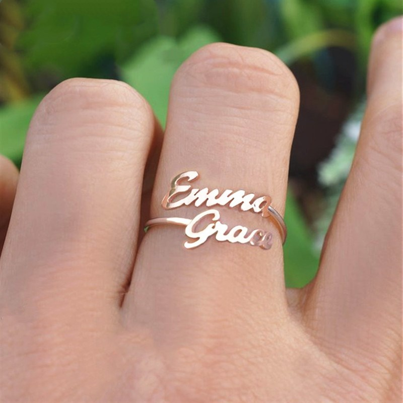 Double Name Rings For Women Men Custom Two Name Ring Personalized Jewelry Bridesmaid Gift Adjustable Rose Gold Anillos Mujer