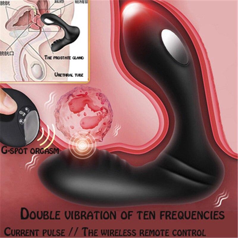 Wireless remote control electric shock prostate anal plug vibration massager for men G spot orgasm masturbation vibration buttoc