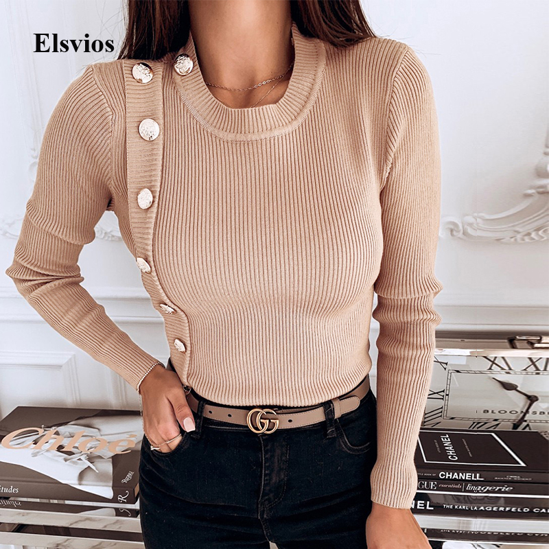 Women Solid Buttons Rib Shirt Blouse Casual Spring Autumn Long Sleeve Blouses Elegant Female O Neck Knitted Pullover Tops Blusa