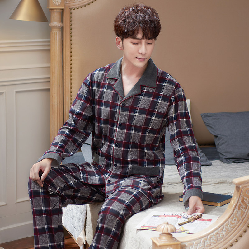 Pure Cotton Pajama Sets Men 2 Pieces Full Pants Sleepwear Homewear For Homme Classic Plaid Cardigan Pyjamas Gift For Father PLUS