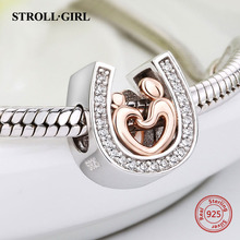 925 silver horseshoe charms Mom and kid hand in hand beads fit original pandora pendant bracelet diy jewelry accessories gifts цена