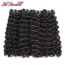 Mèches de cheveux mongols naturels Double-teinte-Ali Annabelle, cheveux humains, crépus bouclés, en lot de 1/3/4 pièces