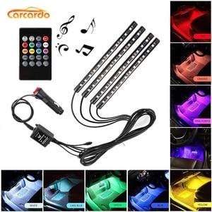 Image 1 - Carcardo Voice Control Car LED Atmosphere Light Lamp 8 Color RGB Glow Car Decoration Strip Light Car LED Auto With Controller