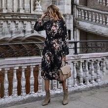 Женское платье с разрезом цветочным принтом воротником стойкой