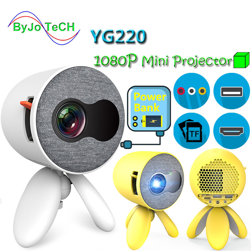 ByJoTeCH YG220 <font><b>1500</b></font> <font><b>lumens</b></font> <font><b>LED</b></font> Projector Portable Pocket 5V 2.5A power Bank support HDMI USB Proyector home theater Mini beamer image