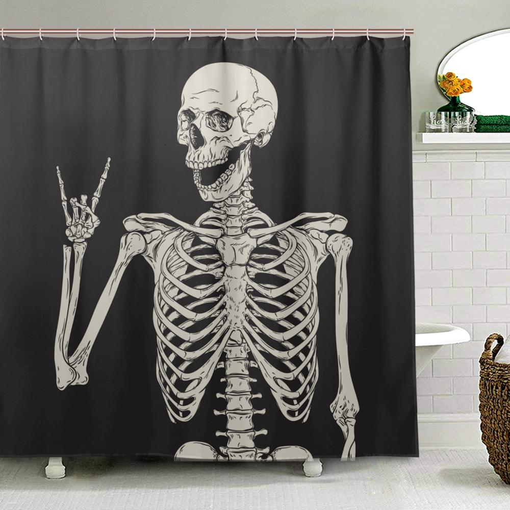Rock And Roll Skull Skeleton Shower Curtains Polyester Waterproof Mildew Proof Day Of Dead Skeleton Bath Curtain for Bathroom