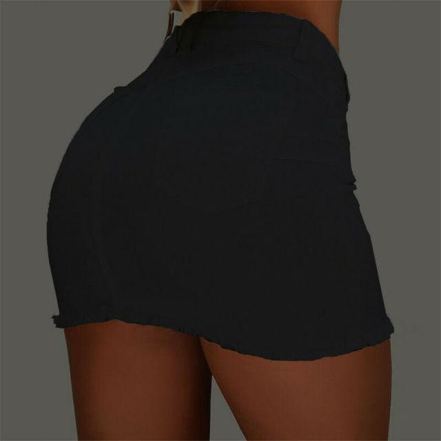 Brand New Women Stretch High Waist Solid Skirt Summer Button Denim Solid Short Mini Jeans Denim Pencil Skirts 10