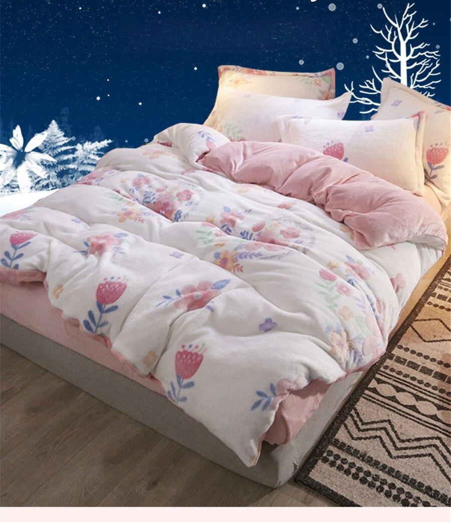 Outono inverno flanela grossa conjunto de cama