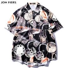 2019 Pocket Watch Printed Shirts Men Summer Short Sleeve High Quality Streetwear Hip Hop Beach Hawaiian Vintage