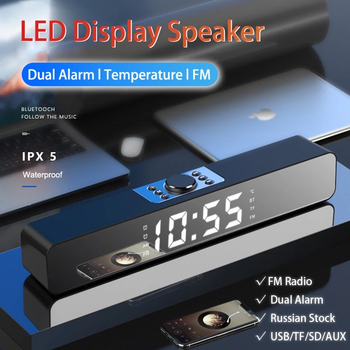 Wired Wireless Bluetooth Speaker Alarm Clock LED TV Sound Bar Home Theater Surround Subwoofer AUX USB for PC TV Computer TF Card image