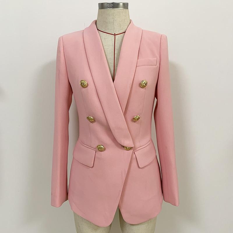 HIGH QUALITY 2020 Newest Fashion Designer Blazer Women's Double Breasted Lion Buttons Shawl Collar Blazer Jacket