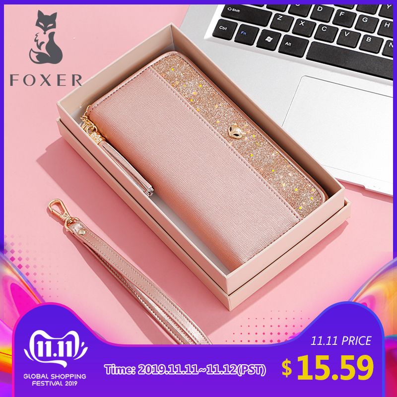 FOXER Women's Glitter Cowhide Leather Long Wallets With Wristle Luxury Female Purse Lady Clutch Cellphone Bag Fit Iphone 8 Plus