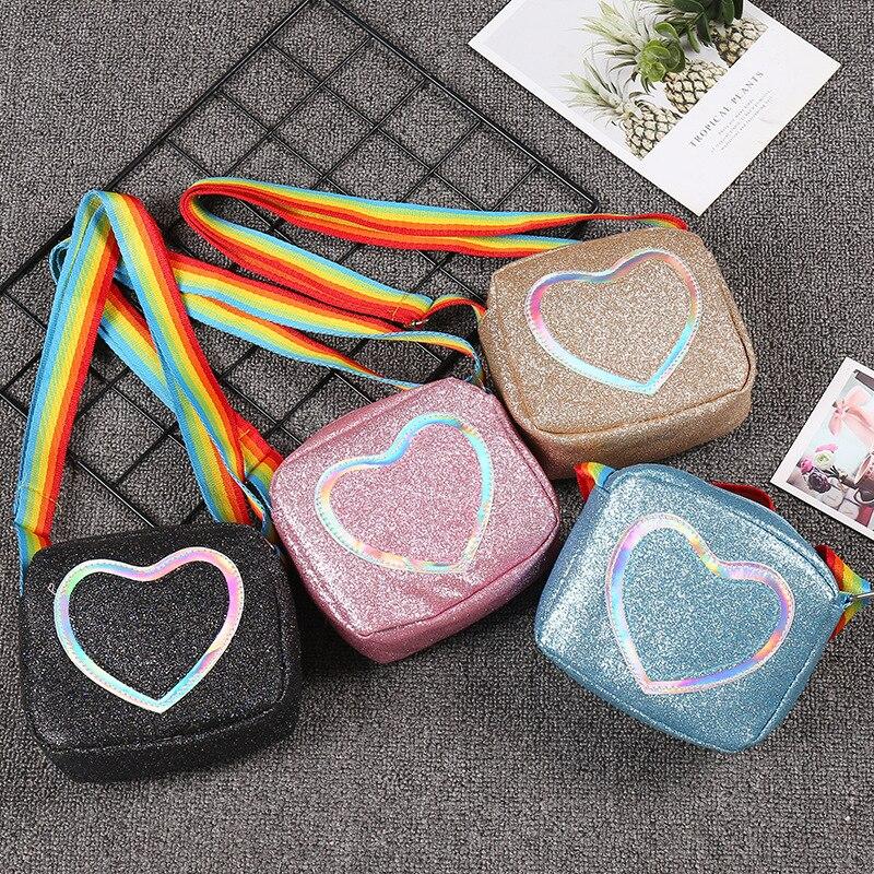New Women Leather Handbags Lady Girls Lovely Shoulder Bag Kids Baby Messenger Crossbody Bags Mini Heart Phone Bag Coin Purse
