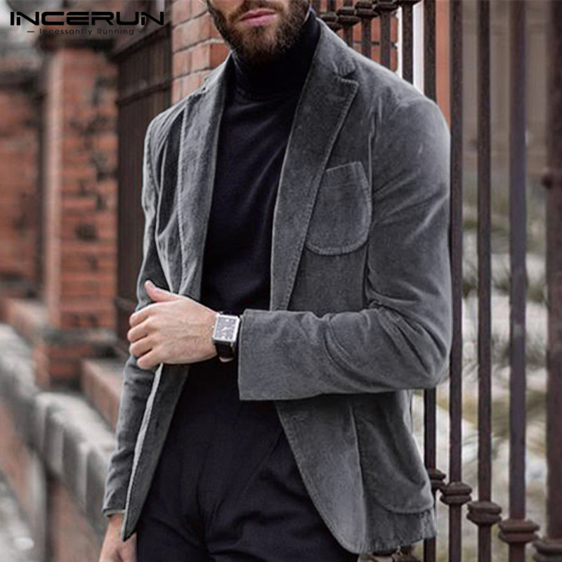 INCERUN Men Blazers Corduroy Long Sleeve Streetwear Plain 2020 Outerwear Fashion Business Chic Mens Blazer Casual Suits Jackets