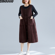 DIMANAF Plus Size Women Dress Autumn Sleeveless Corduroy Basic Casual Big Female Lady Vestidos Loose Solid Thick 2019