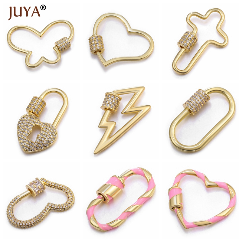 Juya New DIY Jewelry Making Supplies Luxury Zircon Rhinestone Spiral Clasps Pendants Accessories For Making Fine Jewelry