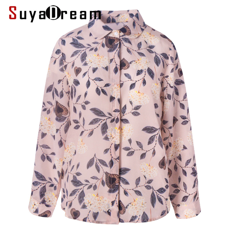 SuyaDream Women 100%Silk Crepe Printed Blouse Long Sleeved Turn Down Collar Button Office Blouses 2020 Spring Shirt