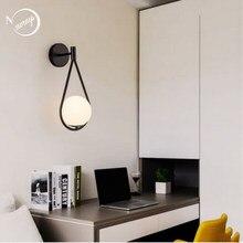 Iskandinav E27 LED 220V duvar lambası modern minimalist cam oturma odası yatak odası başucu çalışma koridor koridor merdiven duvar ışıkları
