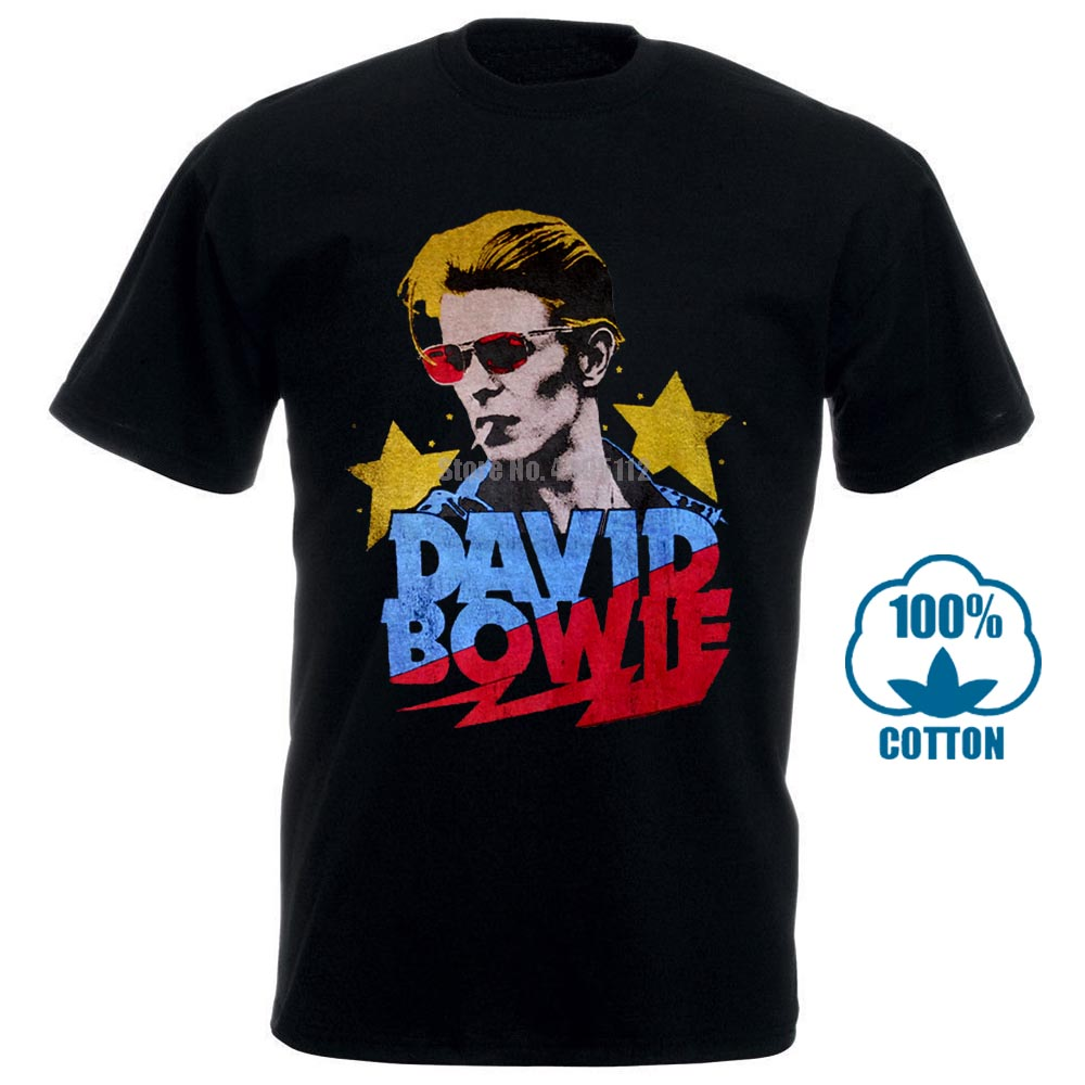 Authentic DAVID BOWIE Starman Smoking Photo Logo T-Shirt S-2XL NEW
