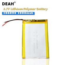 306090 3000mah lipo células 3.7v bateria recarregável de polímero de lítio grande capacidade ultra-fina para mesa de energia móvel mp3 mp4 brinquedo