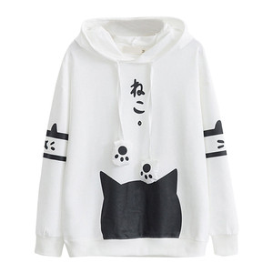 Harajuku Cat Kawaii Hoodie Lolita Junior Cute Ear Hoody Sweatshirt Student Girls Spring School Hoodies Anime Lovely Paws Tops #B