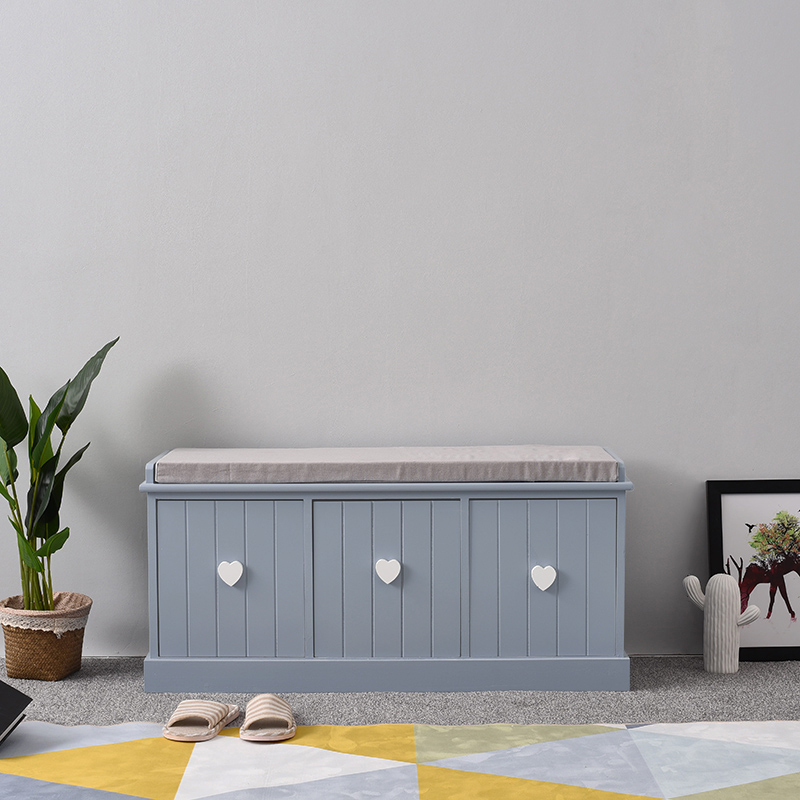 Panana Vintage Wooden Storage Unit Bench Seat Shabby Chic Drawers Cushion Storage Bench with 3 Drawers