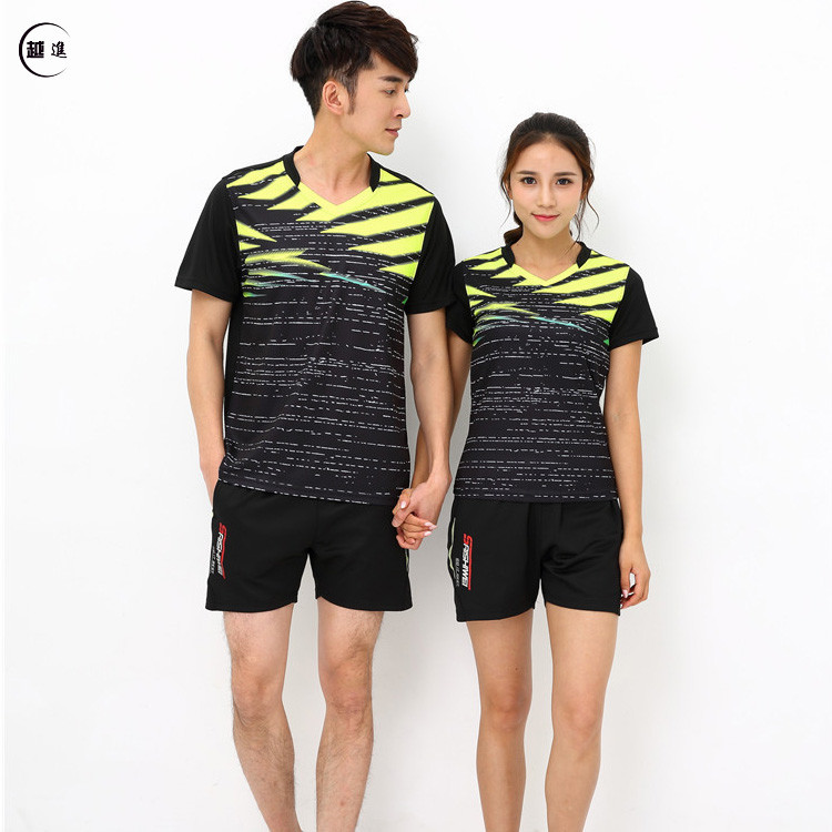 New Style Short Sleeve Feather Set Men And Women Team Clothing Game Training Suit Ping Pong Clothing Capris Shorts Printed Words