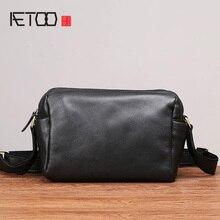 AETOO Head cowhide single Shoulder bag male leather soft skin oblique cross bag horizontal fashion casual mens bag