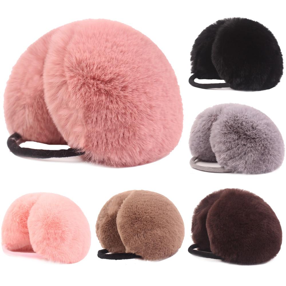 Women Girls Earmuffs Soft Warmer Ear Muffs Earlap Winter Warm Solid Earwarmers HATCS0428
