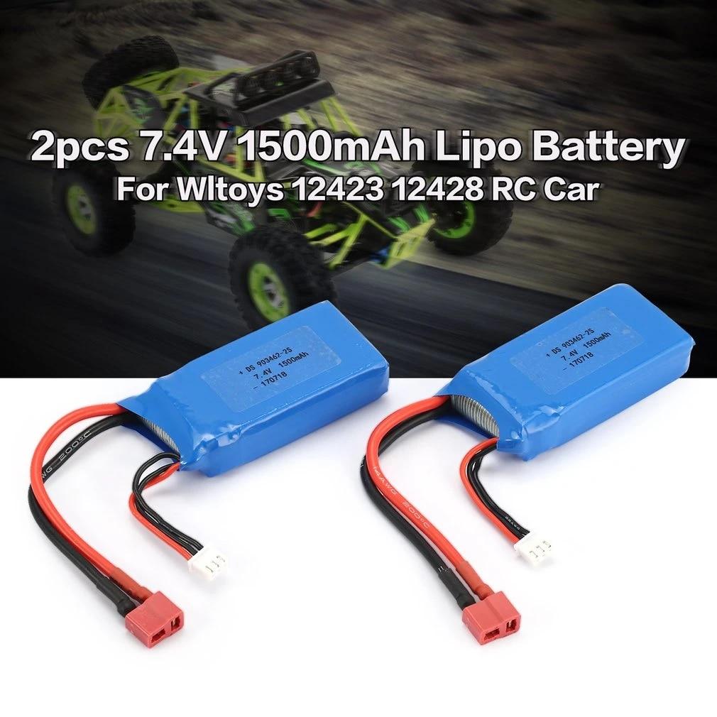 2PCS 1500mAh 7.4V 25C 2S Lipo Battery T Plug For Wltoys 12423 RC Car