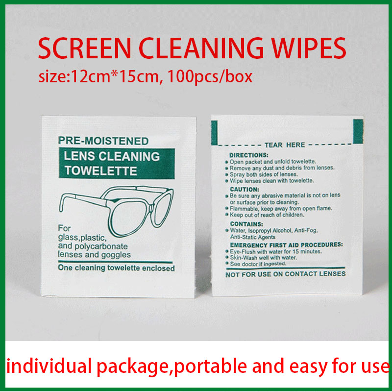 100pcs Screen Cleaning Wipes Individual Package Portable Alcohol Wipes Sunglasses Mobile Phone Camera Lens Wet Wipes Clean Wipe