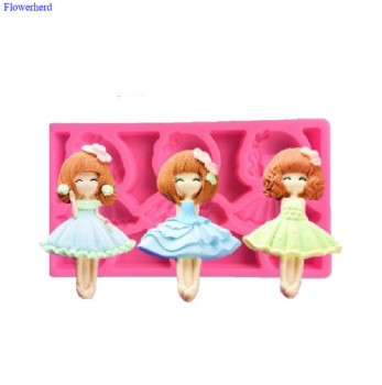 Fashion Princess Girl Silicone Fondant Cake Mould DIY Chocolate Biscuit Mold Cake Decorating Tools Handmade Dolls Mold