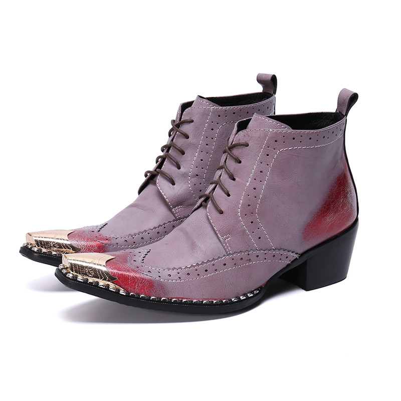 Purple Genuine Leather Mens Shoes High Heels Lace Up Sewing Retro Combat Boots Rhinestone Bordered Med Heel Winter Men Boots 46
