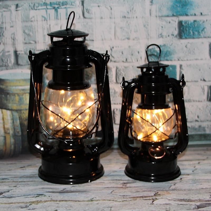 Lantern Oil-Lamp Jewelry Decoration Retro Home Nostalgic-Crafts Night-Light Wrought-Iron