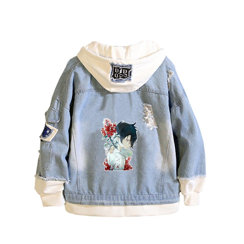The Promised Neverland Unisex Demin Jacket Ray Emma Jeans Hoodies Spring Sweatshirt Harajuku Boys Streetwear Anime Couple Coats 4