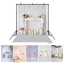 Photo Backdrop White Living Room Flowers Vase Candles Christmas Vinyl Backgrounds for Children Baby Home Photophone Photography