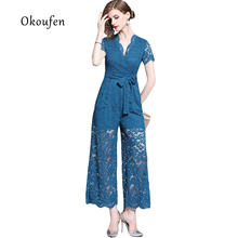 OKOUFEN 2019 Summer Europe and America with solid color lace trousers wide leg high waist onesies