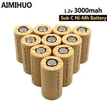 Novo 3000mah baterias sc 1.2v nimh sub c bateria recarregável para diy bosch makita chave de fenda elétrica broca ferramentas elétricas sub c