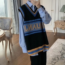 My-Love Korean Version Fashion Thick Knitted Pullover Letter Embroidery Vest Autumn Contrast Color V-Neck Sweater Soft Warm Pull