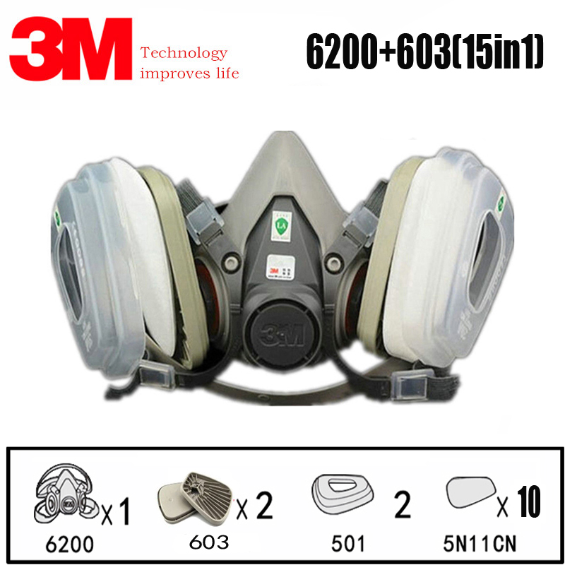 15 in 1 3M 6200 Industrial Half Mask Dust-proof Spray Paint Gas Mask Respiratory Protection Safety Work