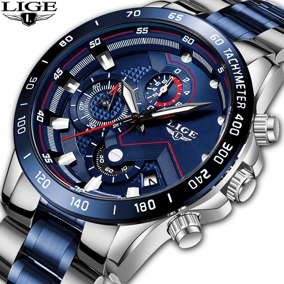LIGE Watches Mens Waterproof Analog Clock Fashion Stainless Steel Waterproof Luminous Watches Men Casual Sport Relogio Masculino