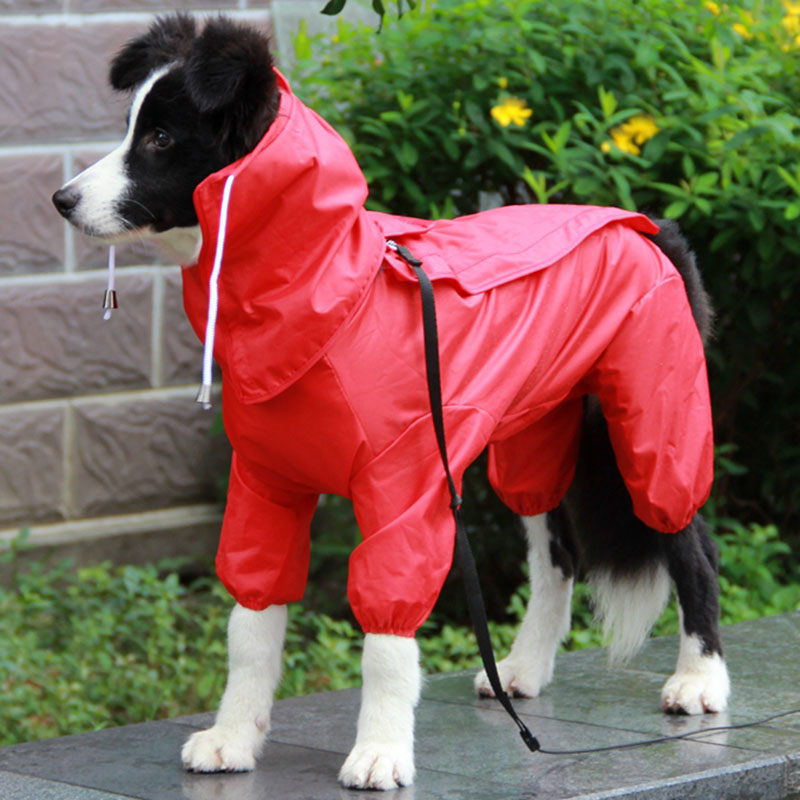 Pet Dog Raincoat Outdoor Waterproof Clothes Hooded Jumpsuit Overalls For Small Big Dogs Rain Cloak Golden Retriever Labrador