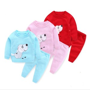 Image 2 - Infant Baby Clothes knitting Sweater Set Child Outerwear For Spring Autumn 2020 New Toddler O neck Flower Animal Clothing Suits