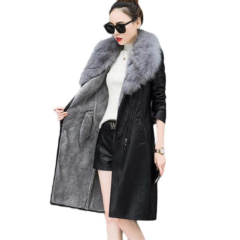Winter PU   Leather   Jacket Women Plus velvet long Wind waterproof Tooling Jackets Womens Plus size Warm Bomber   Leather   Jackets 4XL