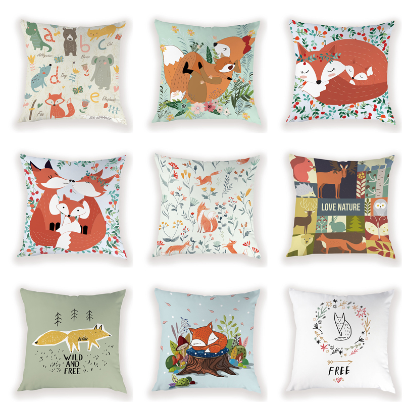 Fox Pillowcases On Cushions Decorative Wild And Free Cushion Cover For Cushion Custom Pillow Cushion For Sofa Decorative Cushion